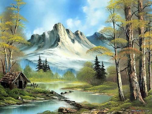 Bob ross tan doğa temalı tablolar