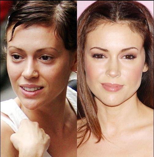 Снимки актрис с макияжем на лице и без него  31313